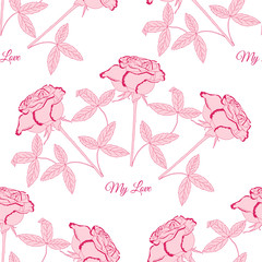 Seamless pattern with pink rose1-03