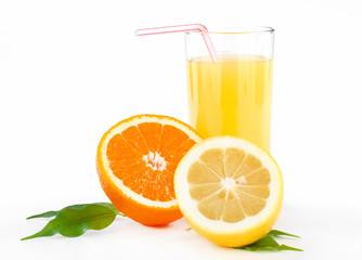 Deurstickers Opspattend water orange and lemon juice with tubule