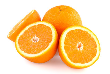a several oranges on white background
