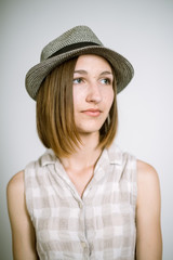 real young girl in a hat