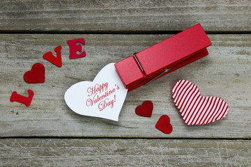 Happy Valentine's Day in clothespin by hearts