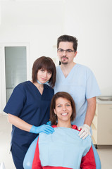 Dentist woman , assistant and patient