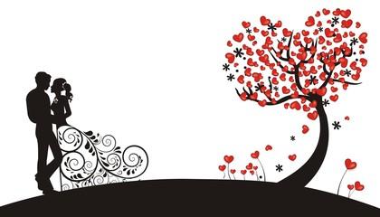 Vektor: Hintergrund mit Herzen und Brautpaar