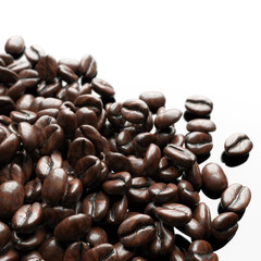 Roasted coffee beans on white background for advertising