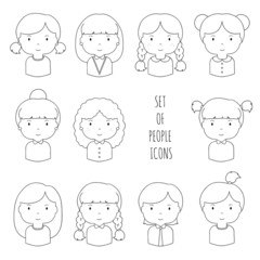 Set of line female faces icons. Funny cartoon hand drawn faces