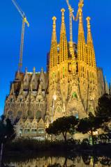 The illuminated Sagrada Familia in Barcelona, Spain