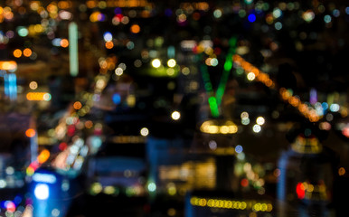 Abstract circular bokeh of cityscape at twilight time