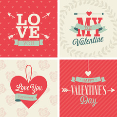 Wall Mural - Valentine`s day set - four cards. Vector illustration.