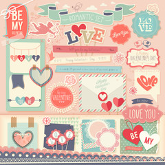 Wall Mural - Valentine`s Day scrapbook set - decorative elements