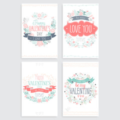 Wall Mural - Valentine`s Day hand drawn card set. Vector illustration.