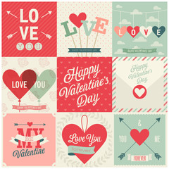 Wall Mural - Valentine`s day set - emblems and cards. Vector illustration.