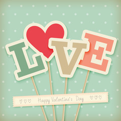 Wall Mural - Valentine`s day card - scrapbook style.