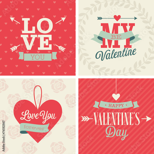 Wall mural Valentine`s day set - four cards. Vector illustration.