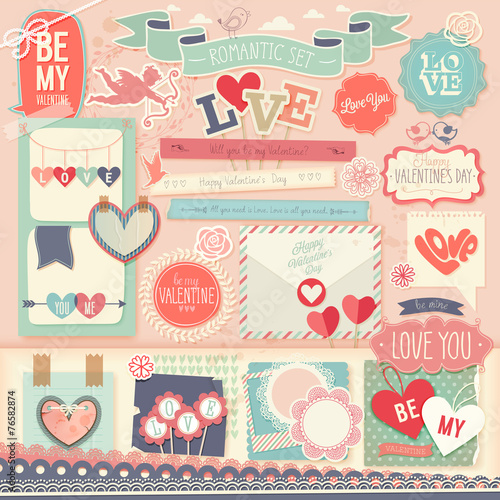 Wall mural Valentine`s Day scrapbook set - decorative elements