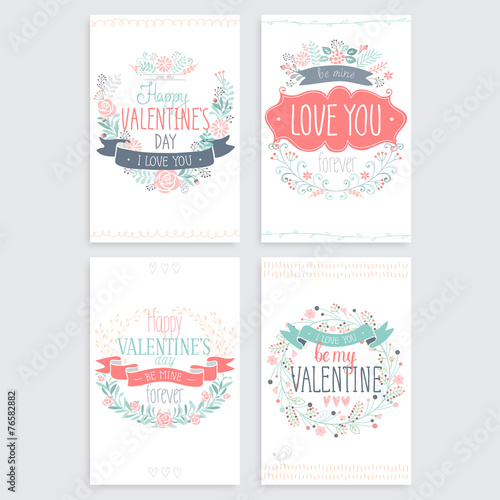 Wall mural Valentine`s Day hand drawn card set. Vector illustration.