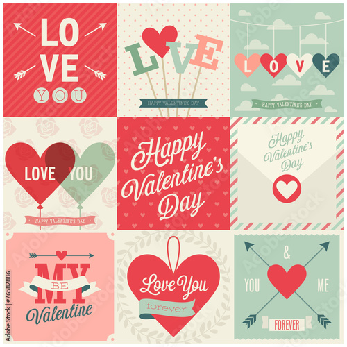 Wall mural Valentine`s day set - emblems and cards. Vector illustration.
