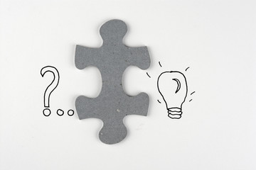 Puzzle piece background, solution idea, for a Question or job
