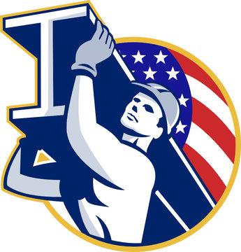 Construction Steel Worker I-Beam American Flag