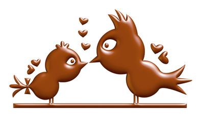 Bird love chocolate. 3D illustration.