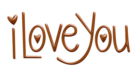I love you, written with chocolate. 3D illustration.