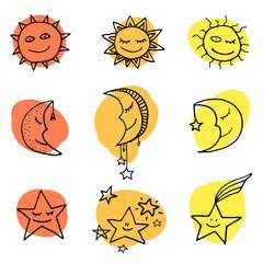 Sun, moon and stars vector icons.