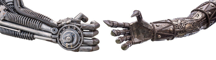 handshake of Metallic cyber or robot made from Mechanical ratche