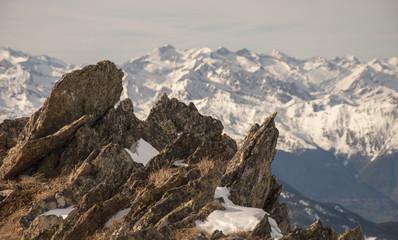Aneto Peak (highest in Pyrenees) from Muntanyo Peak