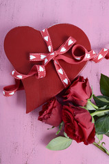 Valentines Day red heart shape chocolates gift box
