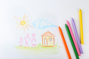 Drawing made by child with colorful pencils, closeup view