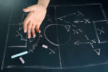 Hand under blackboard with scheme football game, closeup