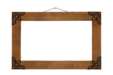 ancient painting frame finished with leather