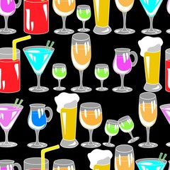 Seamless pattern with cocktail glasses