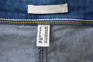 label on the composition of jeans