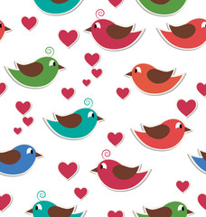 Seamless pattern with cute birds and hearts isolated on white ba