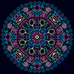 Mandala. Round Ornament Pattern with stationery