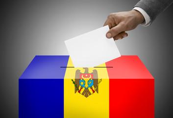 Ballot box painted into national flag colors - Moldova