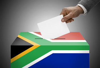 Ballot box painted into national flag colors - South Africa