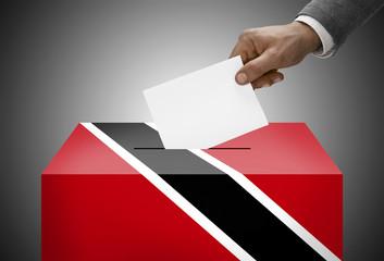 Ballot box painted into flag colors - Trinidad and Tobago