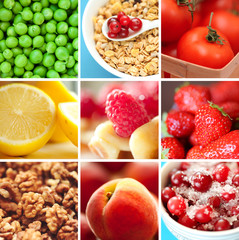 Collage with healthy food