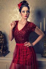 red elegant woman