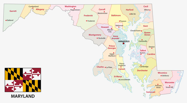 maryland administrative map with flag