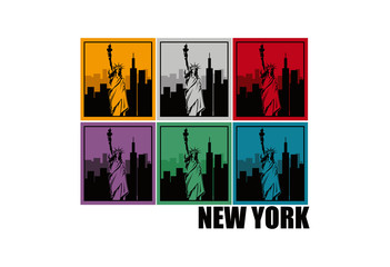 Statue of liberty new york vector icon logo