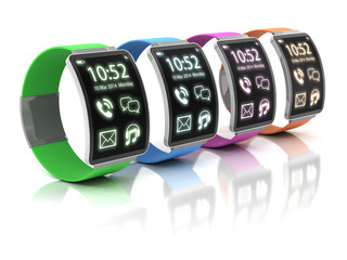 Colorful smartwatches, 3d render