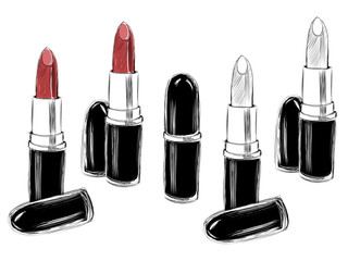 Red drawn lipstick on the white background