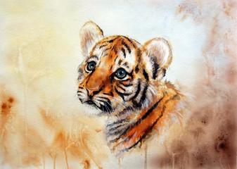 adorable baby tiger head looking up