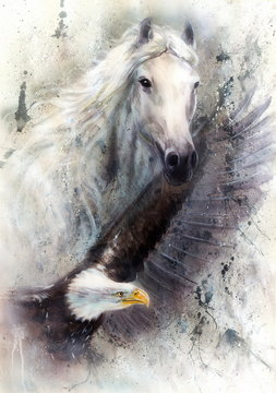 white horse with a flying eagle beautiful painting illustration