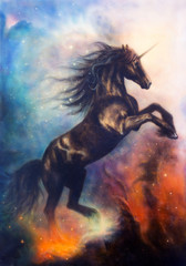 Foto op Canvas Bestsellers Kids painting of a black unicorn dancing in space