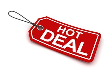 Hot deal tag, 3d render