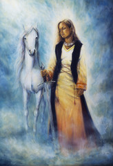 Beautiful oil painting of a mystical woman in historical dress