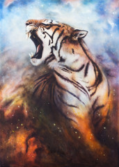 A beautiful airbrush painting of a roaring tiger on a abstract c